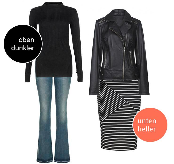 Tall Fashion: Oben dunkler unten heller