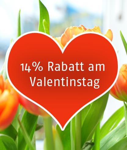 14% Rabatt am Valentinstag 2016