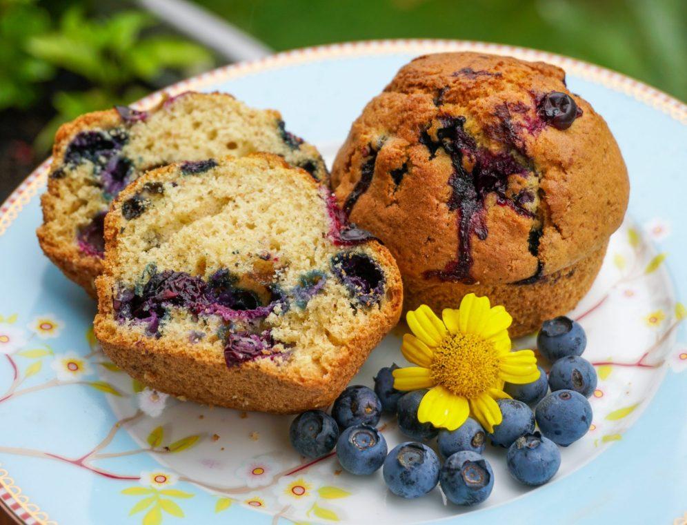 Frische Heidelbeer Muffins zum Tee oder Kaffee