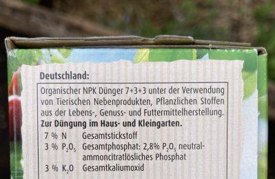 Stickstoff N - Phosphor P -Kalium K