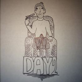 Cartoon man in chair with a boner and gun, day 2