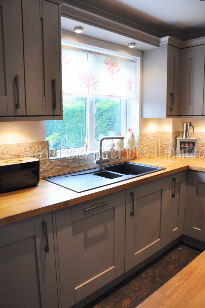 Buckingham Stone Grey Ash Kitchen With Solid Oak Worktops Schofield Interiors Limited