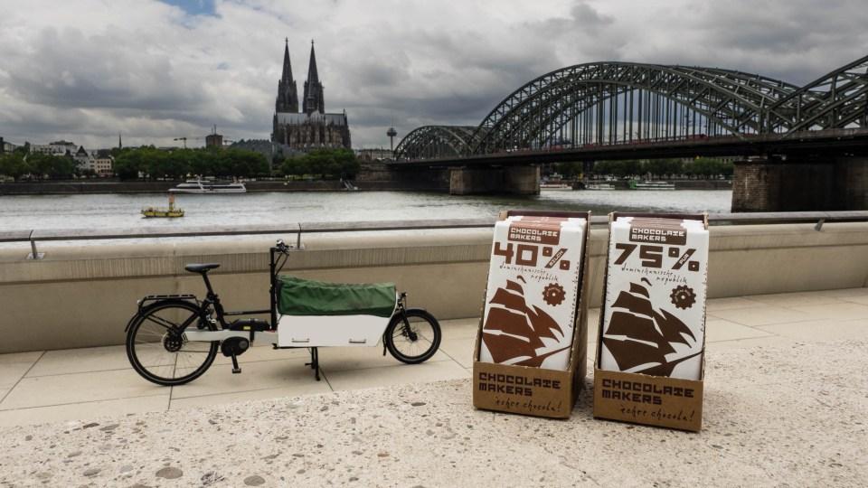 Die Schokofahrt Köln bringt emissionsfreie Schokolade mit Lastenrädern nach Köln