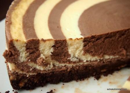 Zebra Cheesecake mit Keksboden