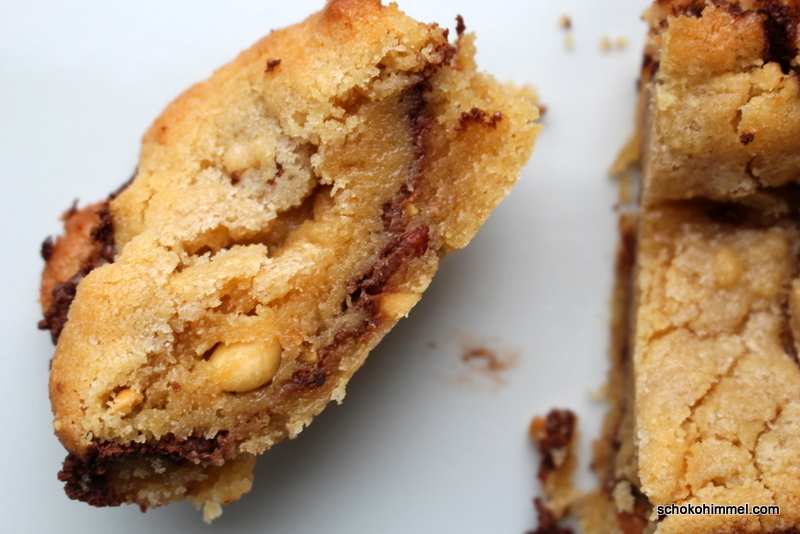 Erdnussbutter-Nutella-Blondies