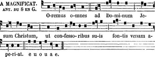 Premières vêpres de saint Clément, antienne de Magnificat