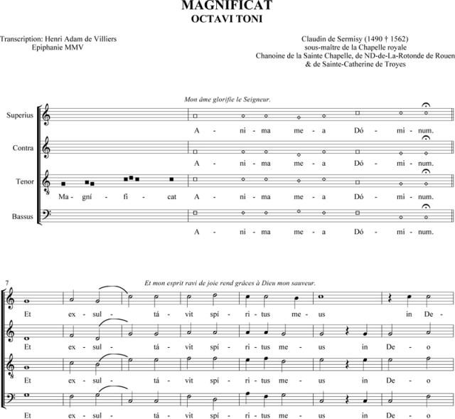 Magnificat du VIIIème ton de Claudin de Sermisy