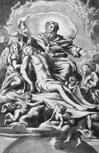 La Très-Sainte Trinité - gravure d'un canon pontifical du XVIIIème siècle