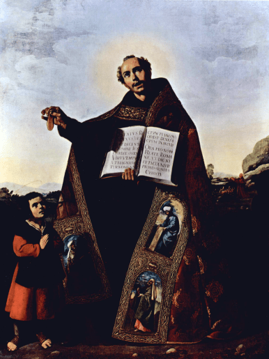 Francisco de Zurbarán - saint Romain d'Antioche tenant sa langue et le saint enfant Barulas - peint en 1638 pour l'église Saint-Romain de Séville - Art Institute of Chicago