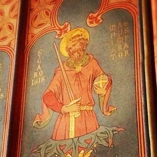 Fresque de saint Charlemagne dans la chapelle saint Louis de Notre-Dame de Paris