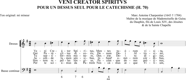 Marc-Antoine Charpentier - Veni Creator pour un dessus seul pour le catéchisme (H. 70)