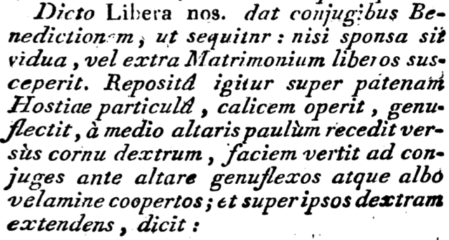 Rituale Parisiense de 1791 - rubrique précisant la bénédiction nuptiale, avec un voile blanc couvrant les époux