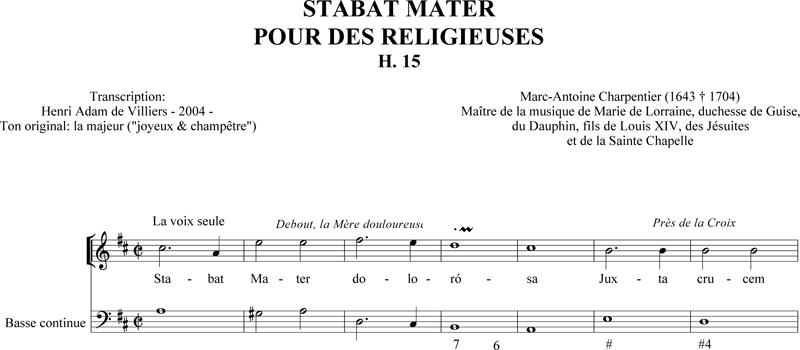 Marc-Antoine Charpentier – Stabat Mater pour des religieuses (H. 15)