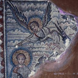 Saint Démétrios & l'ange - mosaïque du Vème siècle.