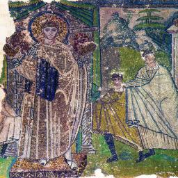 Saint Démétrios & les enfants - mosaïque du Vème siècle.