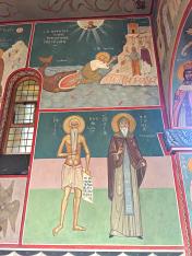 Chevetogne - Jonas rejeté par la baleine - saint Pierre l'Athonite, fondateur de l'Athos - Saint Antoine fondateur de la laure des grottes de Kiev