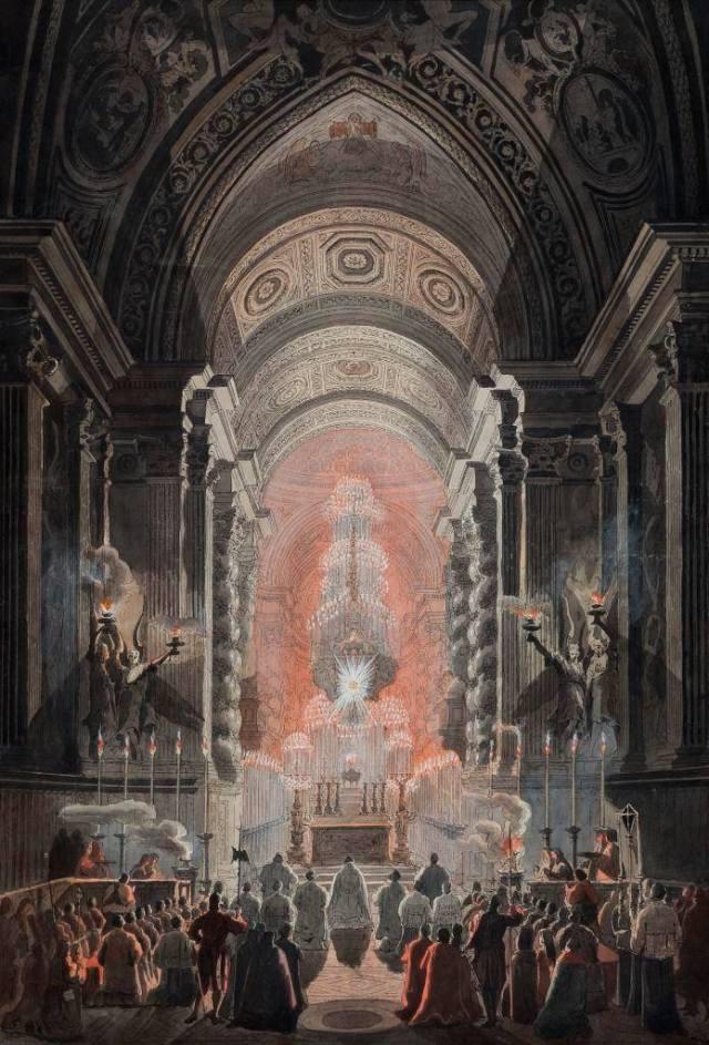 Machine des Quarante-Heures pour le Vatican conçue par le Bernin - gravure de Desprez