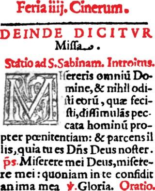 Missale Romanum - Mercredi des Cendres - station à Sainte-Sabine.