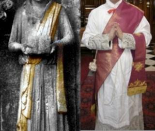 Evolution de la chasuble transversale au stolon : à gauche, la chasuble roulée sur une statue médiévale de la cathédrale de Wells en Angleterre ; à droite, le stolon dans sa forme moderne : simple bande de tissu non galonnée sur les bords.