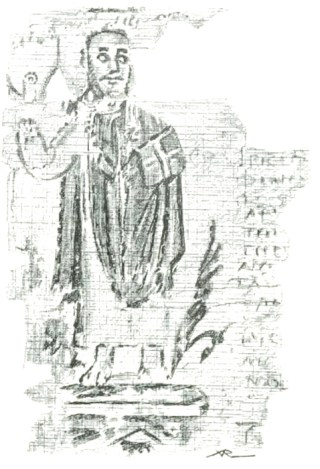 Théophile d'Alexandrie - miniature sur papyrus du Vème siècle.