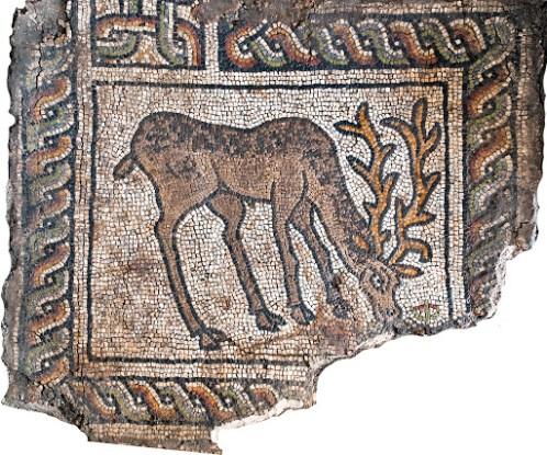 Vigile pascale - Mosaïque du baptistère de Philippopolis (Plodiv, Bulgarie) du Vème siècle.