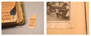 Left: In some cases, pieces of the brittle pages needed to be reattached. Right: Many items needed flattening.