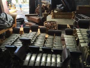 Gamelans in storage. Courtesy of Ryan Sutherland.