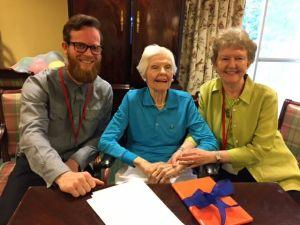 Meeting between Andreas Till, Mary Lynn McGill, and Linda Matthews at Canterbury Retirement Home, Atlanta, 2016