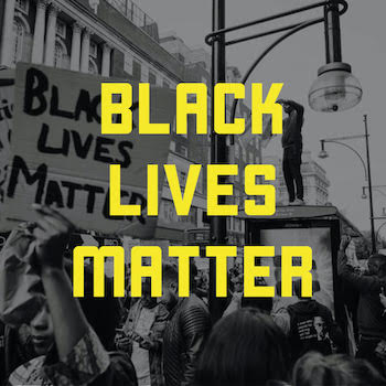 The words Black Lives Matter over an image of people protesting