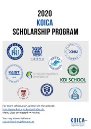 2020 KOICA Scholarship Programme For Master's Degree in Public Management and Public Sector Reforms