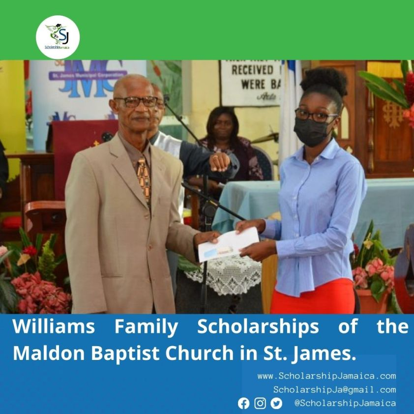 The Williams Family of the Maldon Baptist Church in St. James, Awarded Scholarships to Student Members.