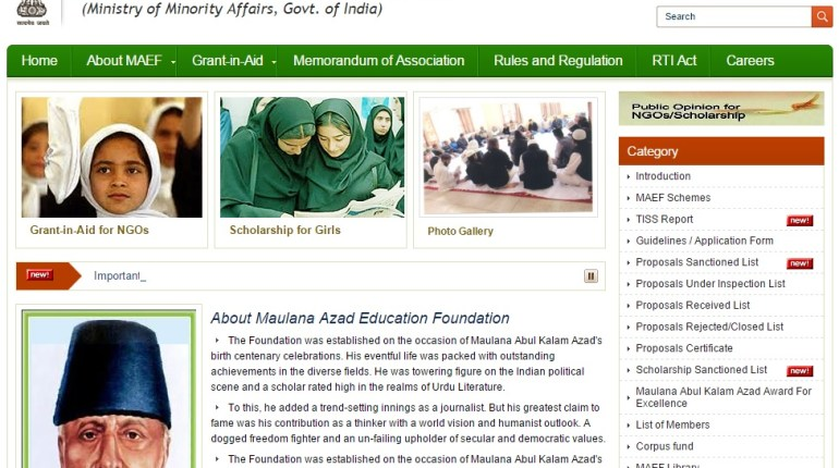 Maulana Azad Scholarship website homepge for JRF and SRF minority students and girl students belonging to economically backward houses.