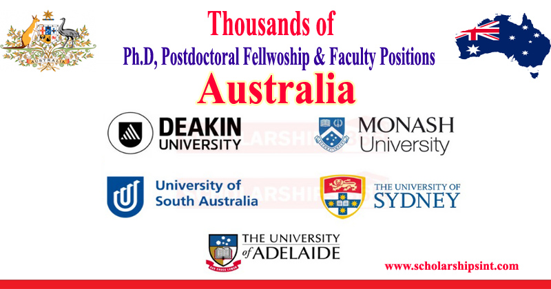 Australian Ph.D Postdoctoral & Faculty Positions