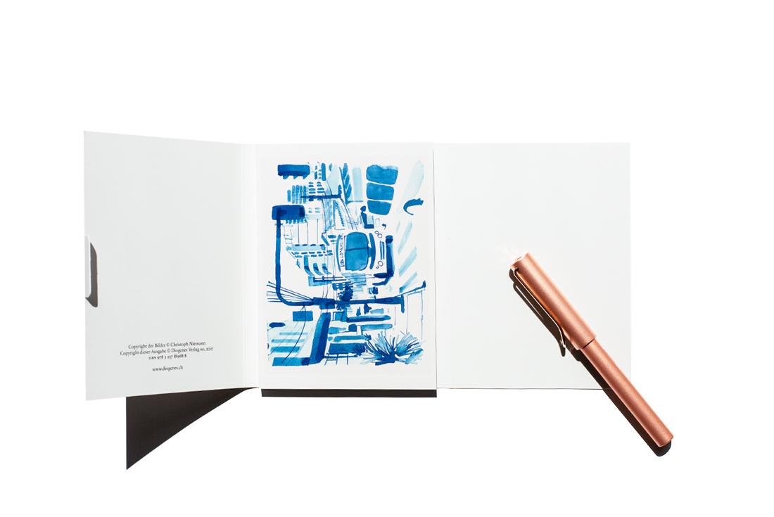 christoph-niemann-souvenir-20-postkarten-schonhalbelf-tipp-empfehlungen-uebersicht-lamy-postkartenbuch-diogenes