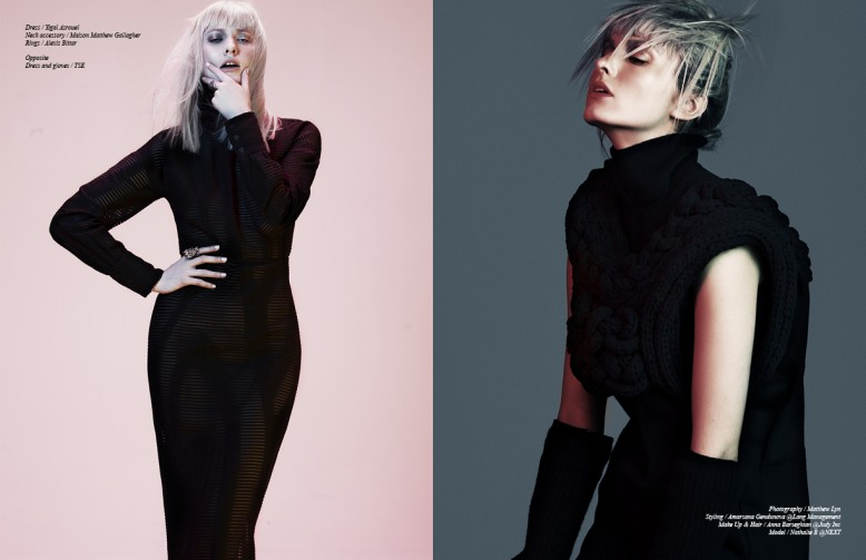 Dress / Yigal Azrouel Neck accessory / Maison Matthew Gallagher  Rings / Alexis Bittar Opposite Dress and gloves / TSE