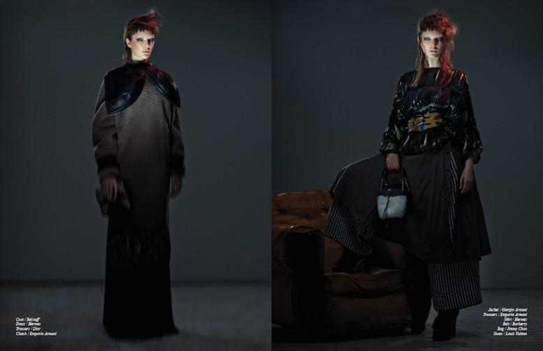 Coat / Belstaff Dress / Hermès Trousers / Dior Clutch / Emporio Armani Opposite Jacket / Giorgio Armani Trousers / Emporio Armani  Skirt / Hermès  Belt / Burberry  Bag / Jimmy Choo Shoes / Louis Vuitton