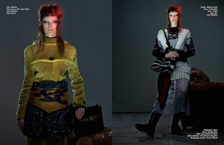 Coat / Burberry Dress worn as skirt / Louis Vuitton  Scarf / Burberry Bag / Versace Opposite Jumper / Roberto Cavalli  Dress / Calvin Klein Boots / Chanel  Bag / Dior  Scarf / Burberry