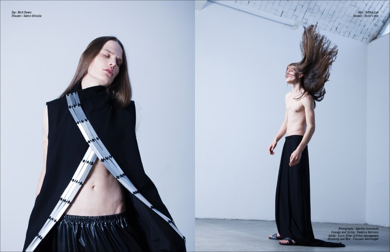 Top / Rick Owens Trousers / Marco Grisolia Opposite Skirt / InVitro Lab