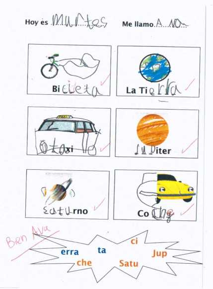 Year 1 Spanish - Transports and planets
