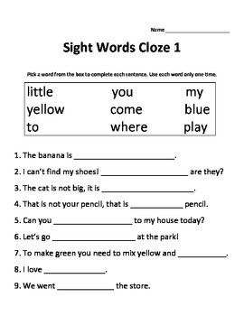 Cloze Activity Worksheets #3