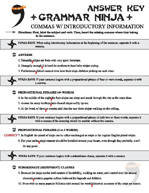 Commas For Clauses Worksheets #5