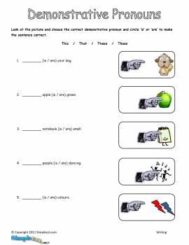 Demonstrative Pronouns Worksheets #2