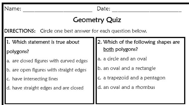 Elementary Geometry Worksheets #2