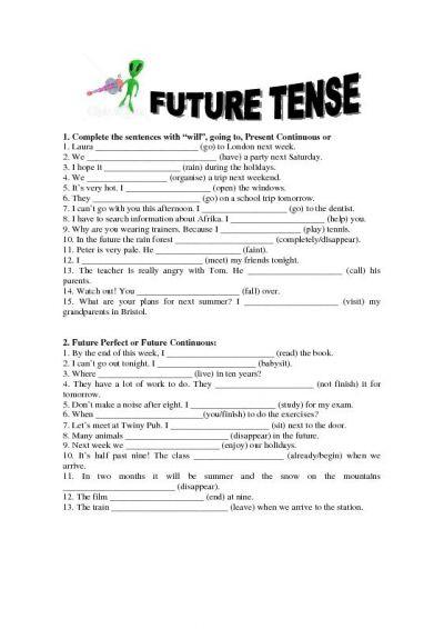 English Future Tense Worksheets #1