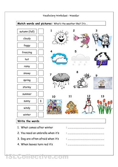 Esl Vocabulary Worksheets #3