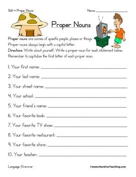 First Grade Noun Worksheets #2