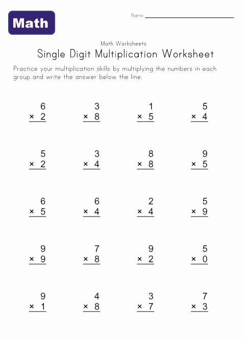 Free Printable Multiplication Worksheets For Kids #1