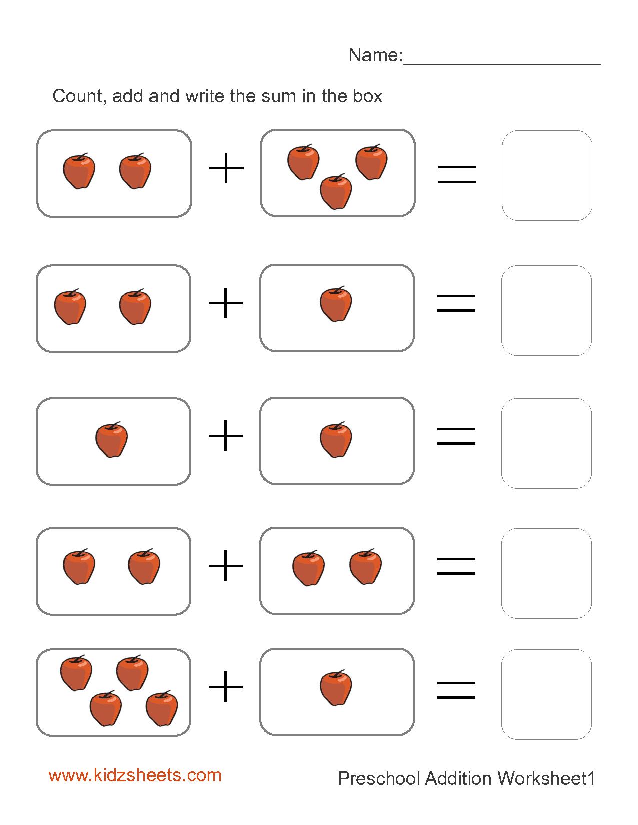 Free Printable Simple Addition Worksheets – Mreichert Kids Worksheets