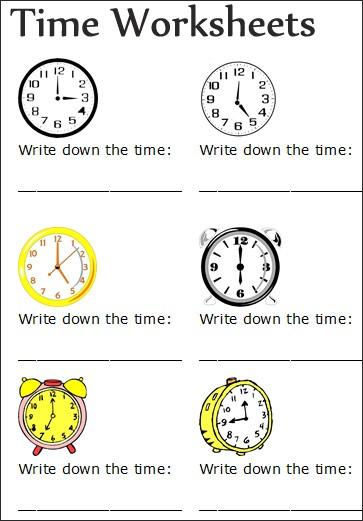 Free Printable Time Worksheets #2