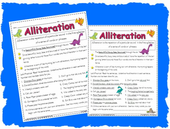 Free Worksheets On Alliteration #5